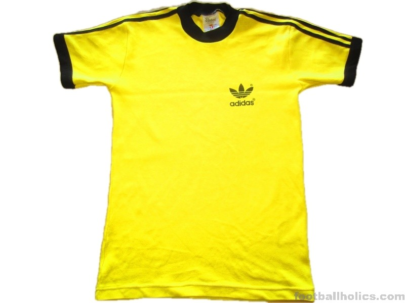 1980s Adidas Vintage Trefoil Yellow T Shirt