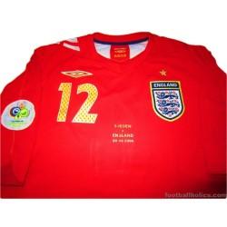 2006 England 'World Cup' Match Worn Campbell 12 Away Shirt v Sweden
