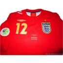 2006 England 'World Cup' Match Worn Campbell 12 Away v Sweden