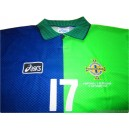 1997 Northern Ireland Match Issue (Hughes) No.17 Home Shirt v Portugal