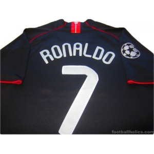 huge selection of 20ccb 28cc0 2007-08 Manchester United Ronaldo 7 Champions League Away ...